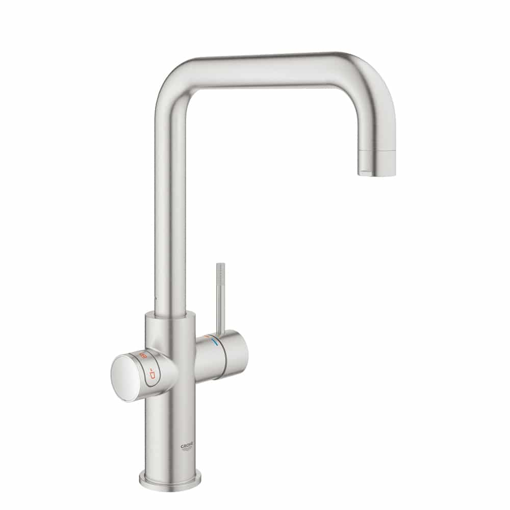 grohe red duo supersteel kraan met u uitloop incl